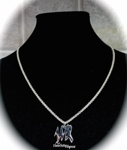Ketju 0,6 mm hopealangasta punottua Piina-ketjua. Ketjun pituus 46 cm. Riipus: desing Paula Nummela.
